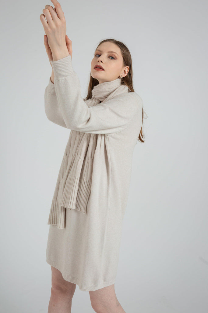 Long Sleeve Sweater Dress and Scarf - The Woman Concept