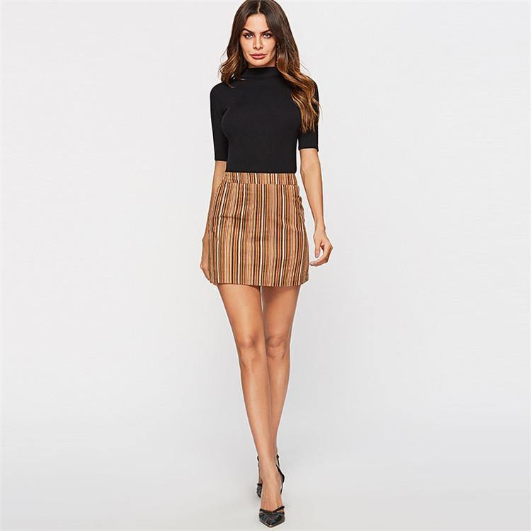 Mixed Color Striped Short Skirt.
