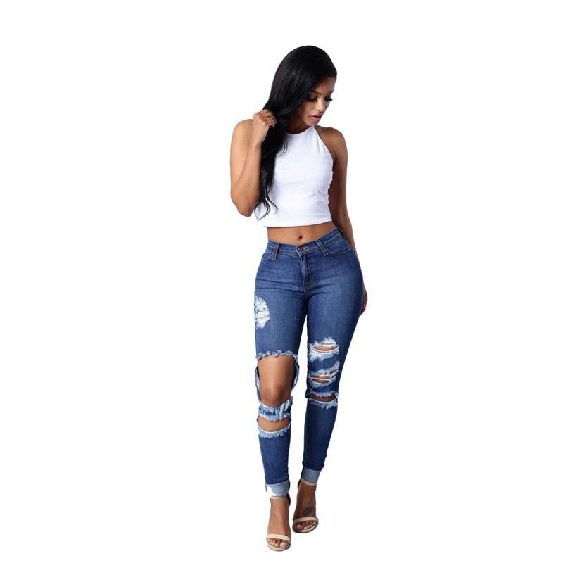 High Waist Jeans with Ripped Hips