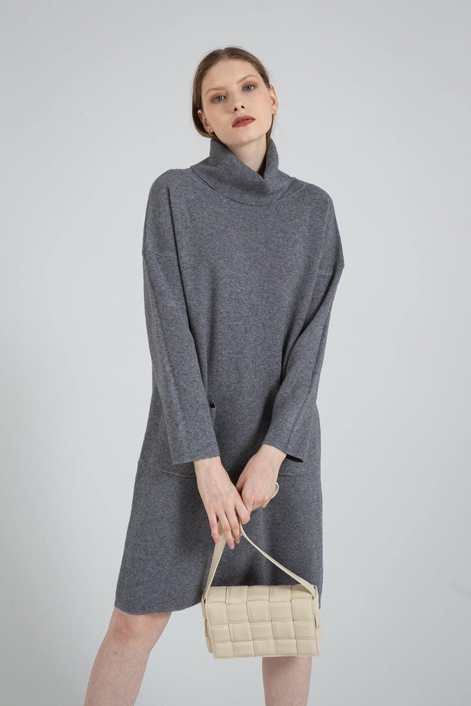 Long Sleeve Turtleneck Knitted Sweater Dress