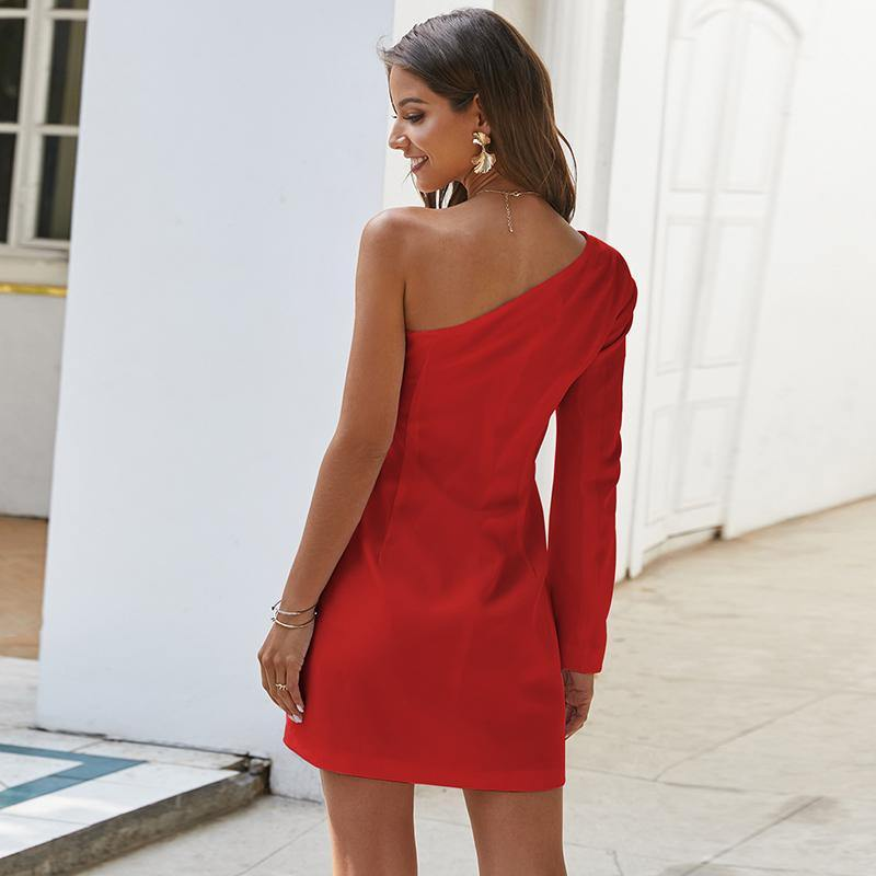 one shoulder blazer dress.