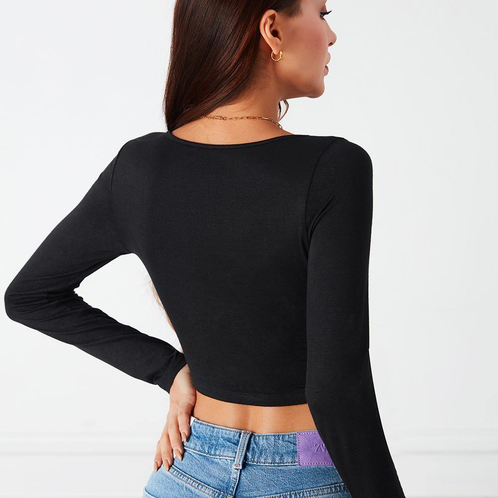 Long Sleeve Cut Top.