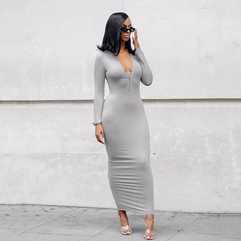 Tight Zipper Long Sleeve Dress.