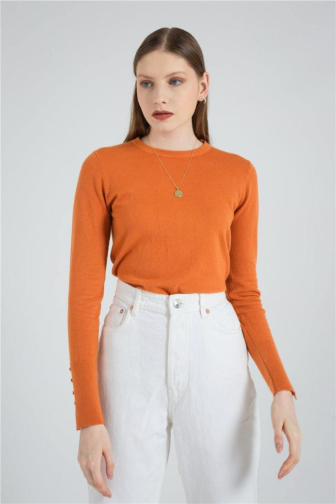 Button Sleeve Knitted Sweater Pullover - The Woman Concept