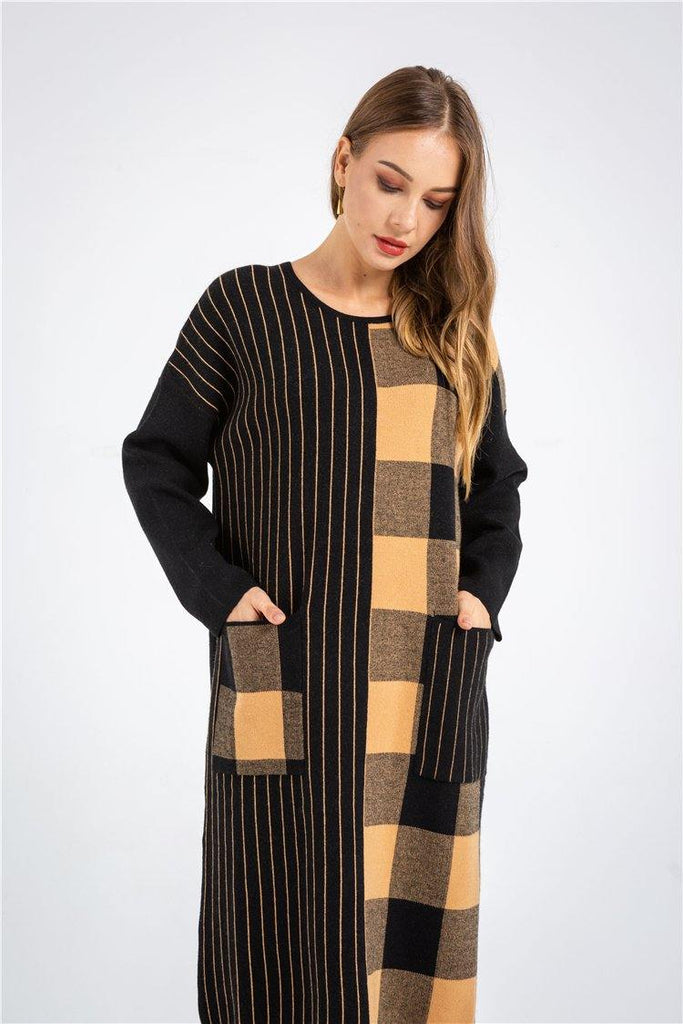 Casual Plaid Sweater Dress With Pocket