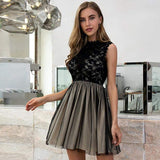 Black Chiffon Lace Layered Transparent Party Dress - the woman concept