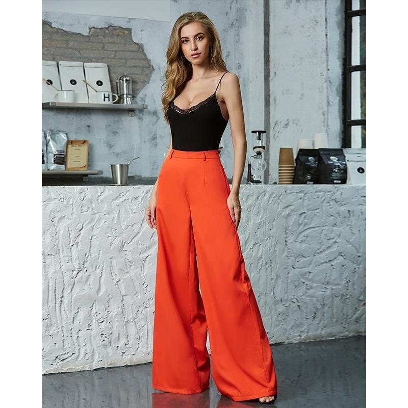High Waist Bell Bottom Wide Leg Pants - the woman concept