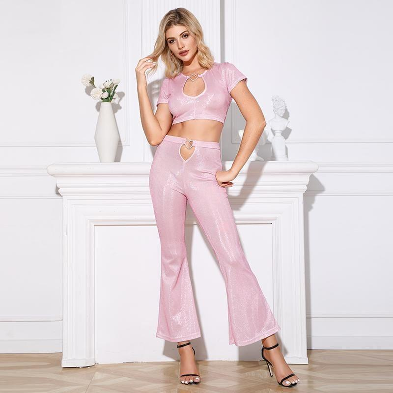 Long Wide Leg pink pants - the woman concept
