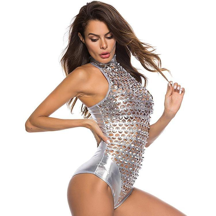 Night Club Silver Sleeveless Bodysuit - the woman concept