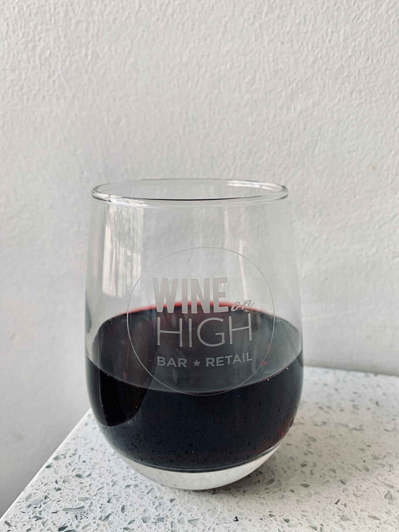 Wine on High Logo Glass