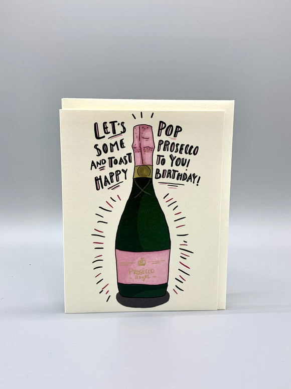 Happy Birthday Pop Prosecco Card