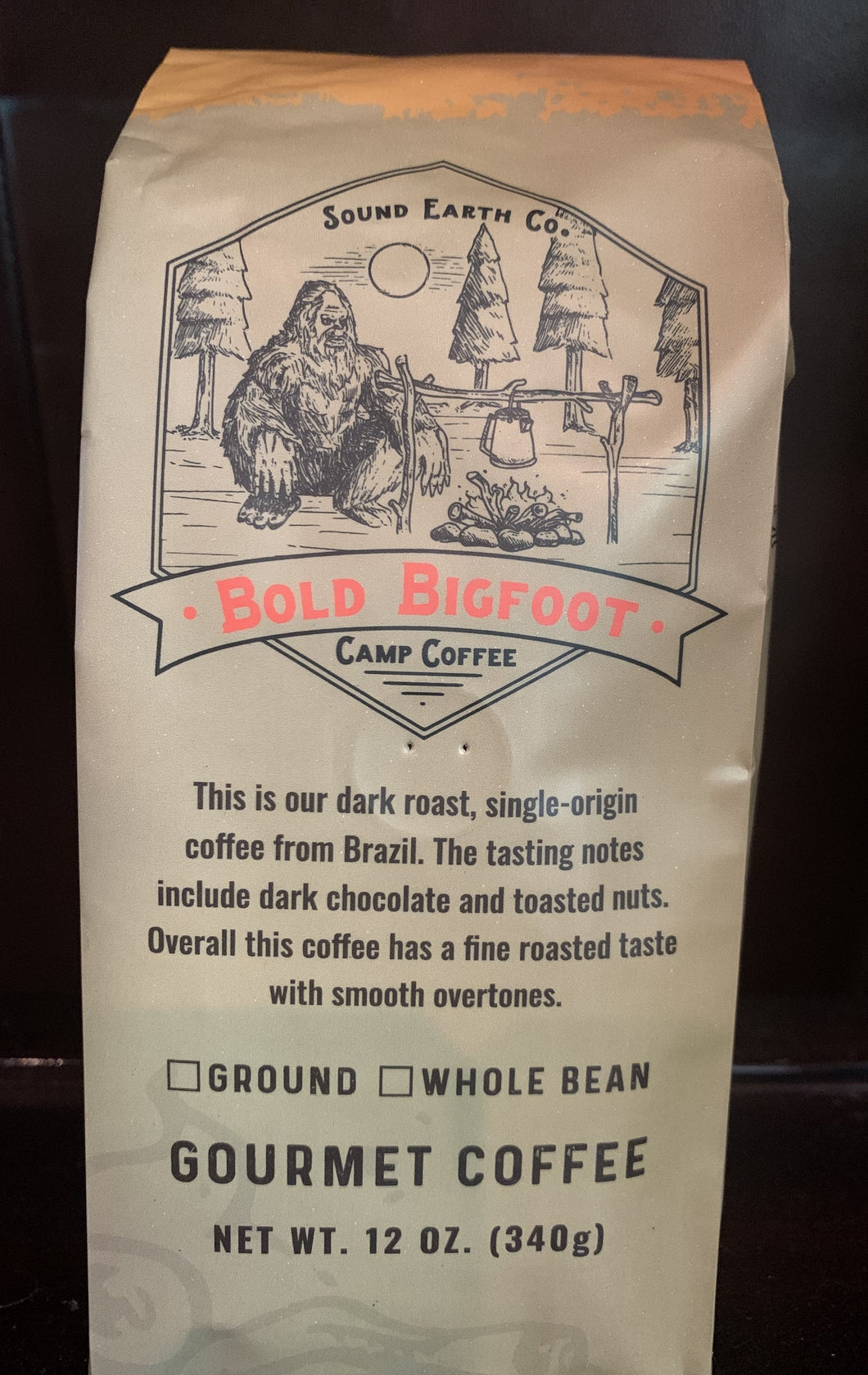 Bold Bigfoot Camp Coffee. Made for french press and  percolator brewing.