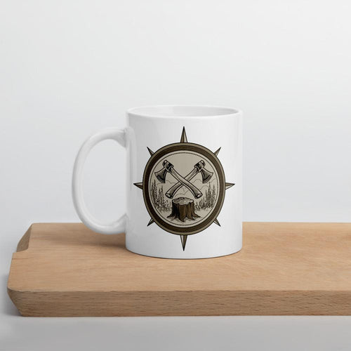 Compass and Axe Mug Bigfoot Camp Coffee Pour Over Coffee for French Press or Percolator