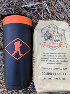 Outdoor french press shown with Bold Bigfoot Camp Coffee