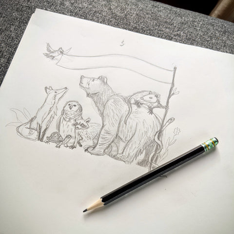 Pencil sketch of a bear, fox, owl, turtle, raccoon, opossum, snake, and bird holding a flag.