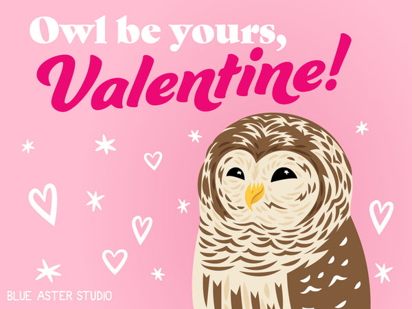 """An illustrated Valentine's day card featuring a barred owl saying """"Owl be yours, Valentine!"""""""