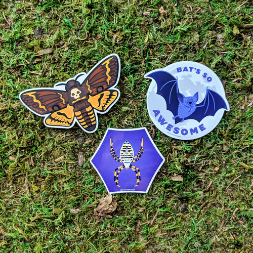 A collection of three vinyl stickers including a deaths head hawk moth, an orb weaver spider, and a bat with the words