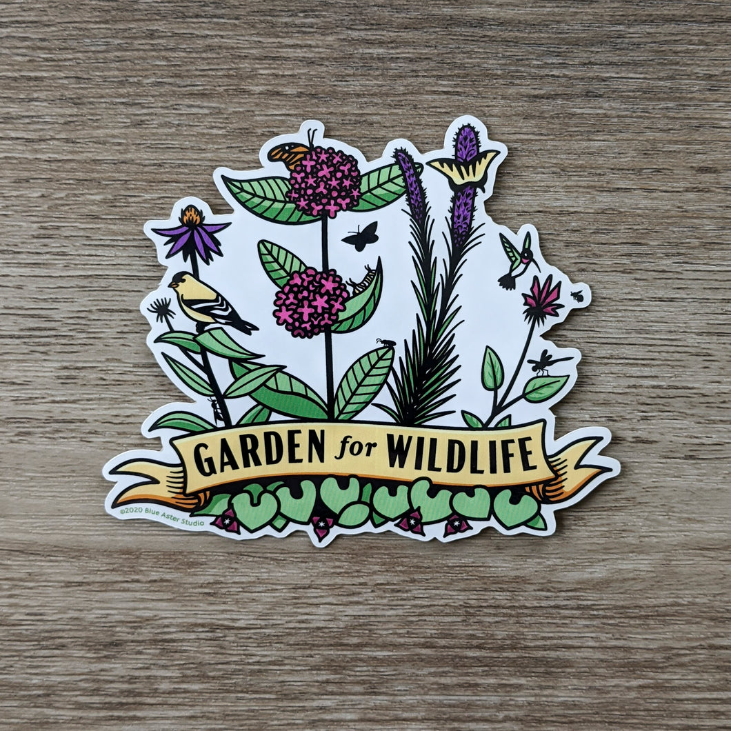 A vinyl sticker with illustrations of native midwestern US plants such as wild ginger, common milkweed, liatris, bee balm, and echinacea with critters all around them including birds, butterflies, and other insects. At the bottome of the sticker there is a banner that reads