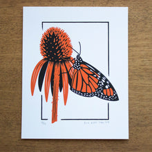 Load image into Gallery viewer, A screen print of a monarch perched nectaring on a coneflower.