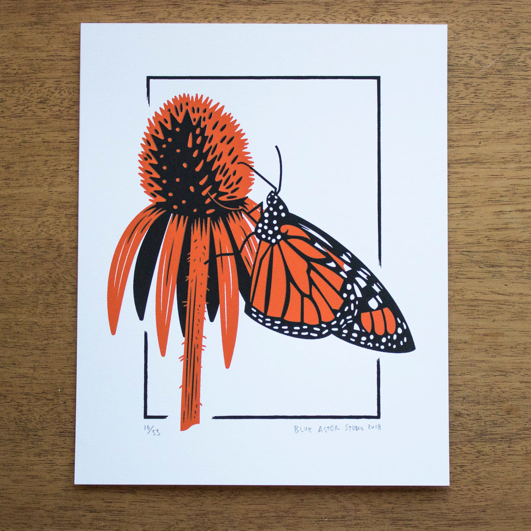 A screen print of a monarch perched nectaring on a coneflower.