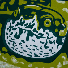 Load image into Gallery viewer, A close-up of the screen print that shows the detail of the turtle's face.