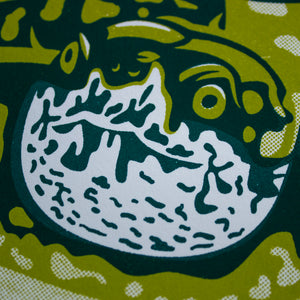 A close-up of the screen print that shows the detail of the turtle's face.