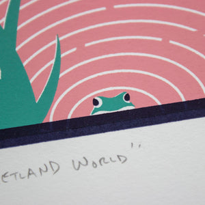 A close-up of the screen print showing the detail of the frog peeking out of the wetland at the bottom.