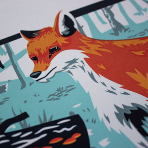A close-up of the screen print showing the detail of the fox's face.