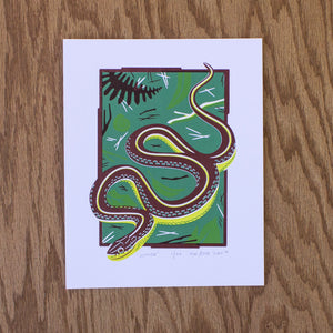 A screen print of a garter snake slithering through some leaves and twigs.