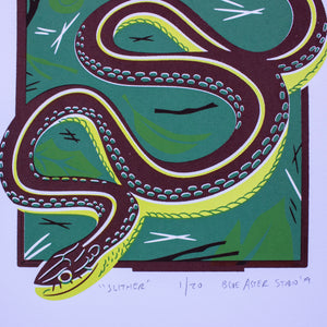 A close-up of the screen print showing more detail of the snake.