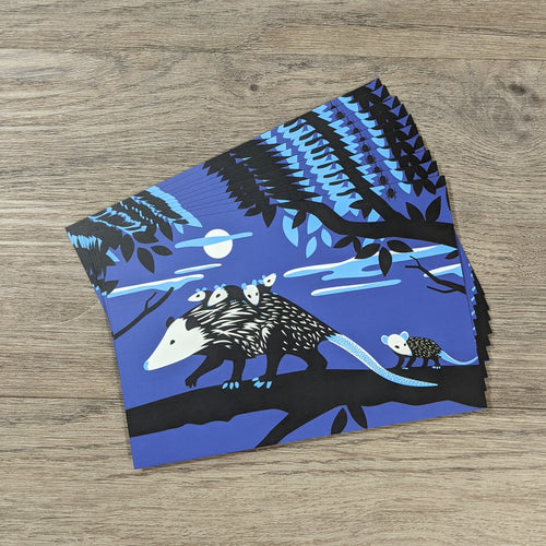 A set of ten opossum postcards fanned out.