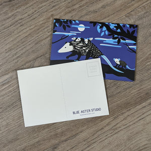 A stack of opossum postcards with one flipped to show the message and address area as well as the Blue Aster Studio logo.