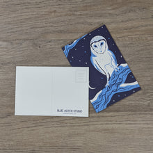 Load image into Gallery viewer, A stack of barn owl postcards with one flipped to show the message and address areas as well as the Blue Aster Studio logo.