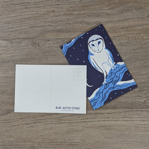 A stack of barn owl postcards with one flipped to show the message and address areas as well as the Blue Aster Studio logo.
