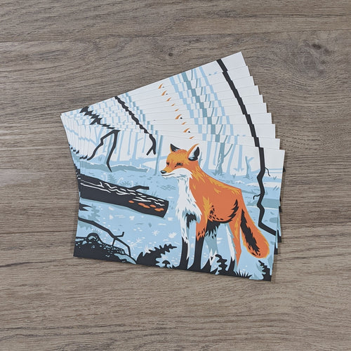 A stack of ten fox postcards.