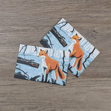 Load image into Gallery viewer, A stack of fox postcards with one leaning against the stack of cards.