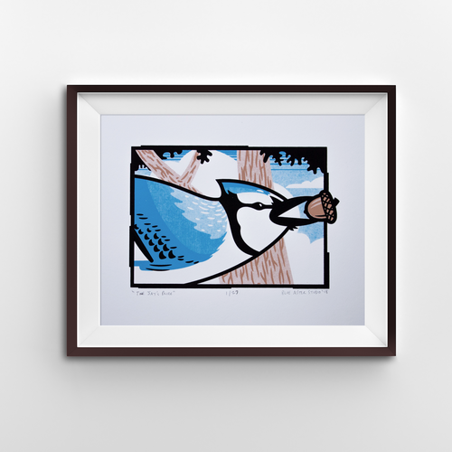 A screen print of a blue jay flying through some oak trees with an acorn in its beak.