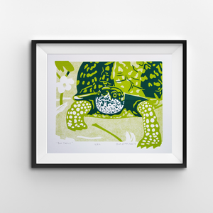 An 8x10 screen print of a box turtle with a mayapple plant behind it.