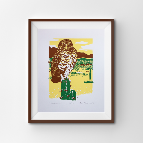 A screen print of a burrowing owl perched on a cactus.