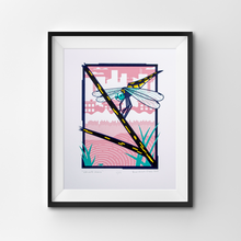 Load image into Gallery viewer, A screen print of a dragonfly perched on a twig in an urban wetland.