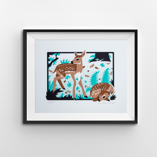 A screen print of two fawns in a woodland setting. One is curled up and the other standing by its side.
