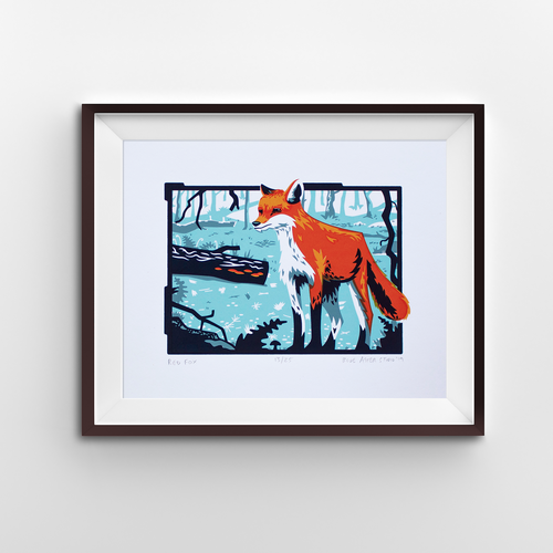 A screen print of a fox in a cool blue forest scene.