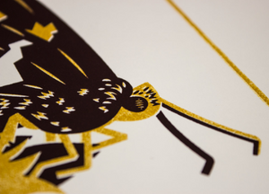 A close-up of the screen print showing the detail of the skipper butterfly.