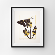 Load image into Gallery viewer, A screen print of a silver-spotted skipper butterfly perched on the seed heads of a foxglove beardtongue.