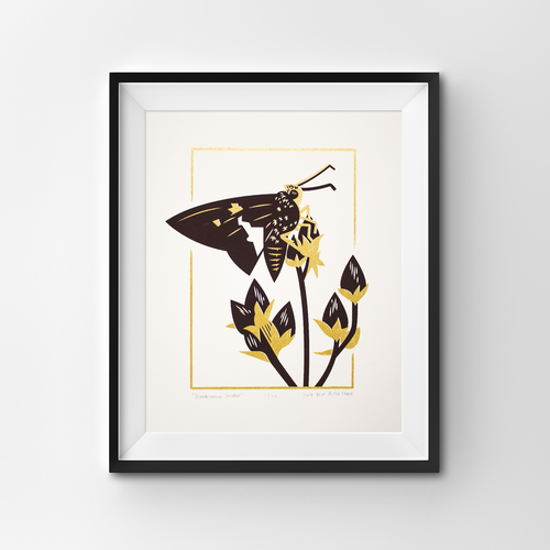A screen print of a silver-spotted skipper butterfly perched on the seed heads of a foxglove beardtongue.