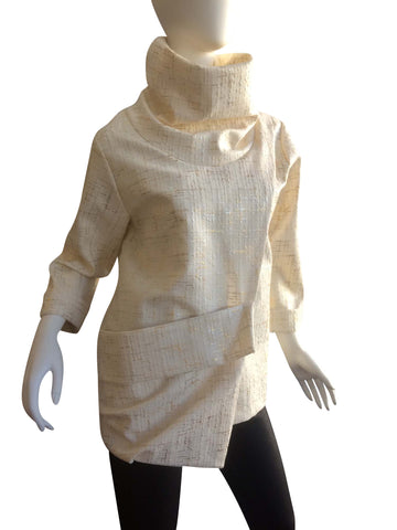 The Esme Pullover ~ Cream with Gold and Silver Streaking