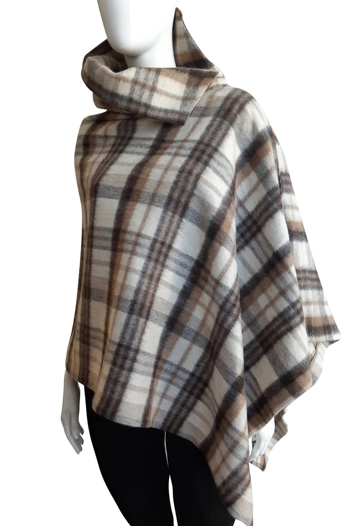 The Esme Poncho ~ Brown Gray Plaid
