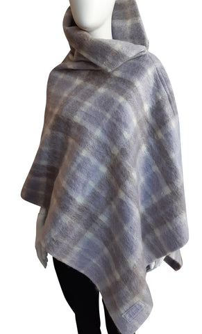 The Esme Poncho ~ Soft Mauve Plaid