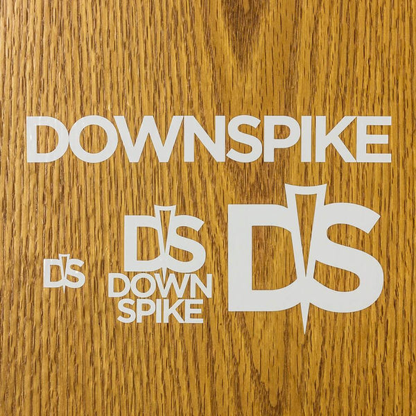 DownSpike Vinyl Stickers - 4 Pack - White