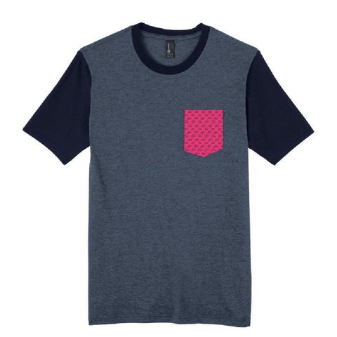 Wave Pattern Pocket T-Shirt - Slate Blue/Pink